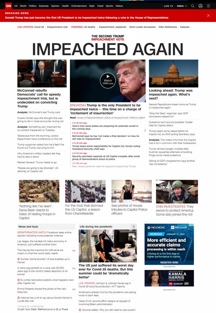 CNN.com home page on January 13, 2020