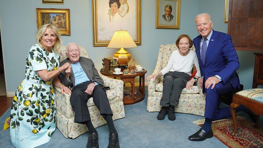 First Lady Dr. Jill Biden, Former First Lady Rosalynn Carter, Former President Jimmy Carter, and President Joe Biden