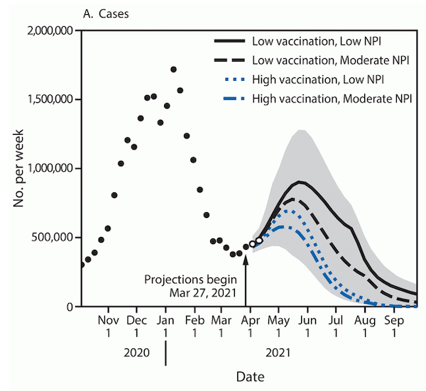 CDC model of coronavirus spread depending on vaccination rates and social distancing measures.